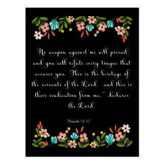 Christian Quote Art - Isaiah 54:17 Postcard