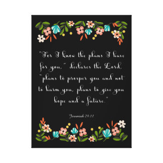 Christian Quote Art - Jeremiah 29:11 Canvas Print