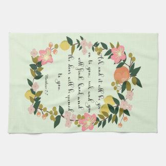 Christian Quote Art - Matthew 7:7 Kitchen Towels