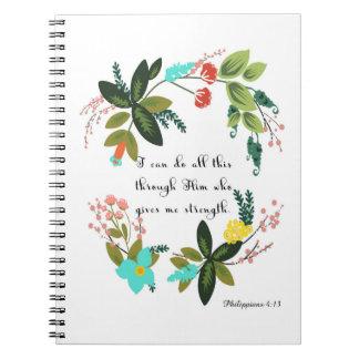 Christian Quote Art - Philippians 4:13 Spiral Notebook
