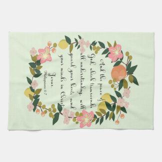 Christian Quote Art - Philippians 4:7 Kitchen Towel