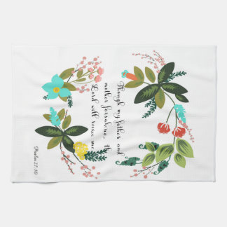 Christian Quote Art - Psalm 27:10 Kitchen Towel