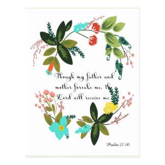 Christian Quote Art - Psalm 27:10 Postcard