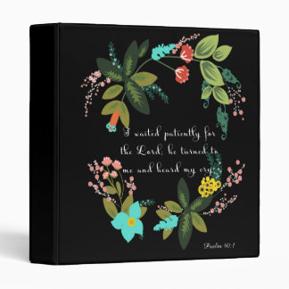 Christian Quote Art - Psalm 40:1 3 Ring Binder