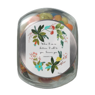 Christian Quote Art - Psalm 63:3 Glass Candy Jar