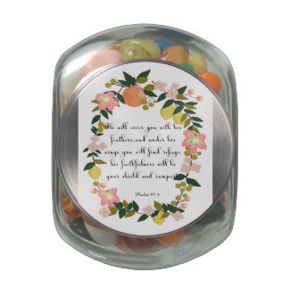 Christian Quote Art - Psalm 91:4 Glass Candy Jars