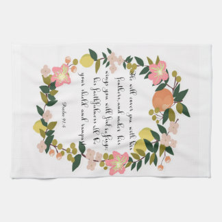 Christian Quote Art - Psalm 91:4 Towels