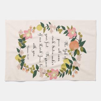 Christian Quote Art - Romans 16:20 Towels