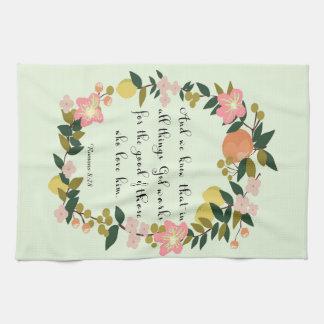 Christian Quote Art - Romans 8:28 Hand Towel