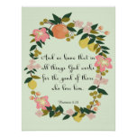 Christian Quote Art - Romans 8:28 Poster