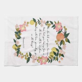 Christian Quote Art - Romans 8:32 Kitchen Towels