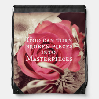 Christian Quote God Can Turn Broken Pieces Drawstring Backpack