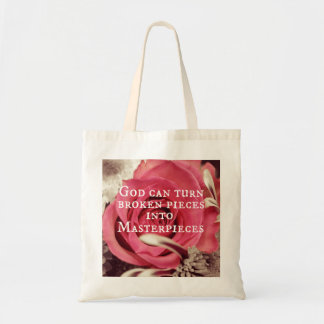 Christian Quote God Can Turn Broken Pieces Tote Bag