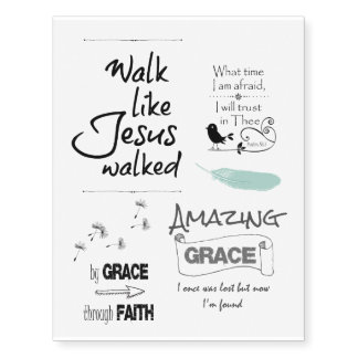 Christian Quotes and Bible Verses Temporary Tattoos