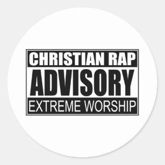 Christian Rap Advisory... Classic Round Sticker