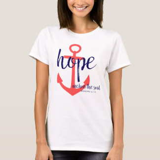 Christian Red/Navy Hope Anchors The Soul Verse T-Shirt