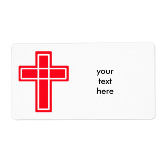 Christian red and white cross shipping labels