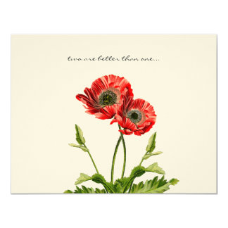 Christian Red Poppies Two Are Better  Wedding RSVP Card