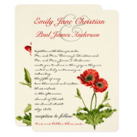 Christian Red Poppy Floral Wedding Invitations