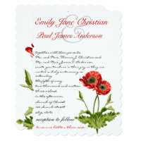 Christian Red Poppy Flower Wedding Invitation