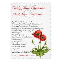 Christian Red Poppy Flower Wedding Invitation