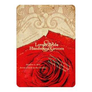 Christian Red Rose Vintage Wedding Invitation
