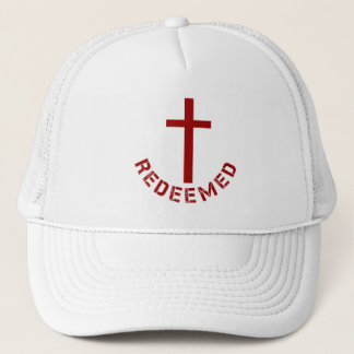 Christian Redeemed Cross and Red Text Design Trucker Hat