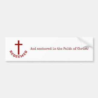 Christian Redeemed Red Cross and Text Design Bumper Sticker