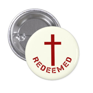 Christian Redeemed Red Cross and Text Design Button