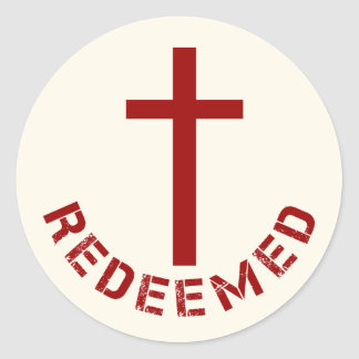 Christian Redeemed Red Cross and Text Design Classic Round Sticker