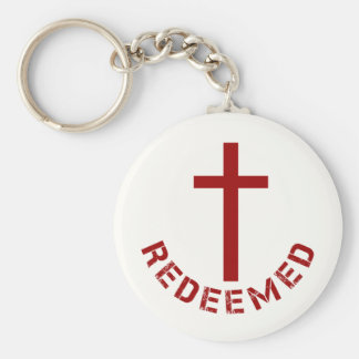 Christian Redeemed Red Cross and Text Design Keychain
