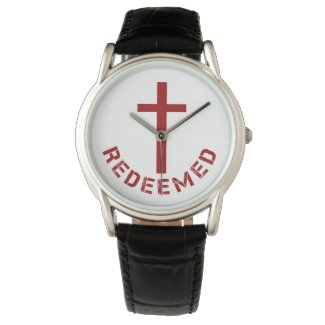 Christian Redeemed Red Cross and Text Design