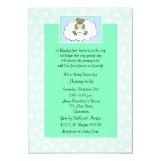 "Christian Religious Baby Shower Invitation, Green 5"" X 7"" Invitation Card"
