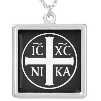 Christian Religious Icon ICX NIKA Orthodox Square Pendant Necklace