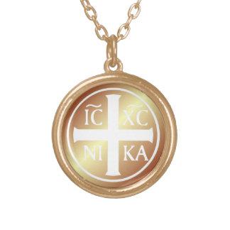 Christian Religious Icon ICXC NIKA Christogram Round Pendant Necklace