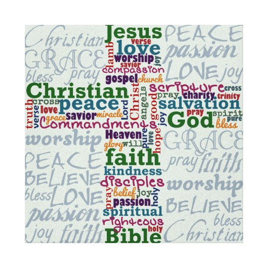 Christian Religious Word Art Cross Canvas Print