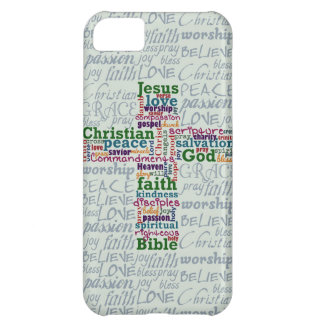 Christian Religious Word Art Cross Case For iPhone 5C