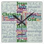 Christian Religious Word Art Cross Clock
