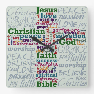 Christian Religious Word Art Cross Square Wallclock