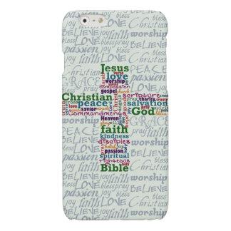 Christian Religious Word Art Cross Glossy iPhone 6 Case