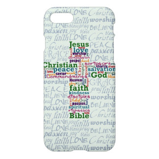 Christian Religious Word Art Cross iPhone 7 Case