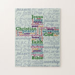 "Christian Religious Word Art Cross Jigsaw Puzzle<br><div class=""desc"">This religious word art / subway art design features words associated with Christianity arranged into the shape of a cross. Words include: God, Jesus, Christian, Bible, faith, love, peace, kindness, salvation, spiritual, Commandments, righteous, compassion, scripture, disciples, Christ, lamb, good, hope, truth, pray, Heaven, savior, worship, passion, gospel, charity, pure, holy,...</div>"