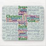 Christian Religious Word Art Cross Mousepad