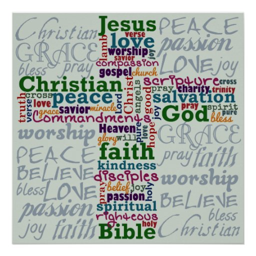 Christian Religious Word Art Cross Posters