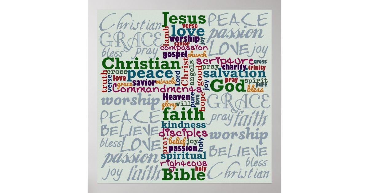 Christian Religious Word Art Cross Poster Zazzle Com