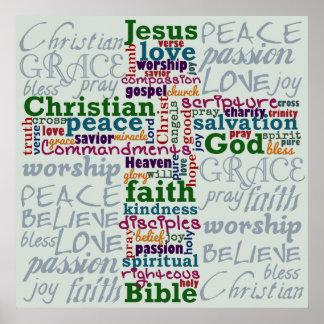 Christian Religious Word Art Cross Posters