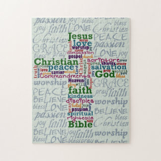 Christian Religious Word Art Cross Jigsaw Puzzle