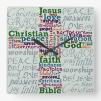 Christian Religious Word Art Cross Square Wall Clock