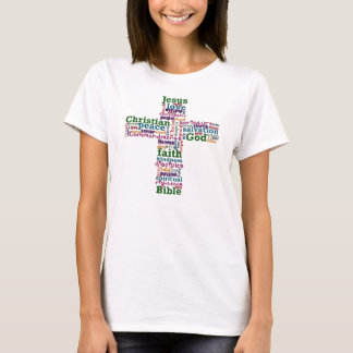 Christian Religious Word Art Cross T-Shirt