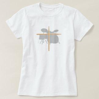 Christian Rock Drummer Drum Stick Cross Ladies T-Shirt